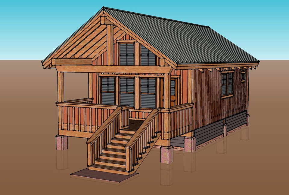 A brown and grey drawing of a typical bungalow unit, built entirely in wood, on the property of Moab Springs Ranch in Moab, Utah.