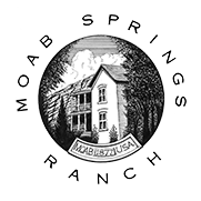 A small square black and white logo for Moab Springs Ranch, written in black lettering, with a round inset drawing of a hotel surrounded by trees.