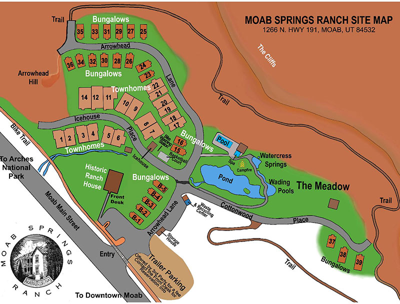 A multi colored map of the Moab Springs Ranch property.